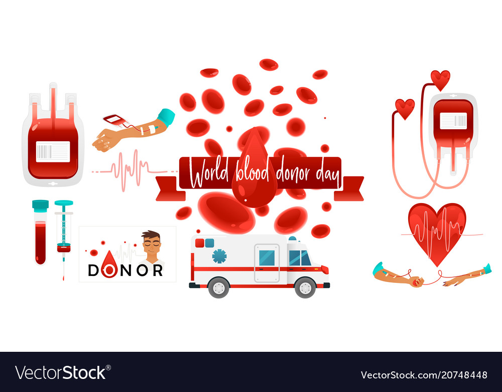 World blood donor day banner with giving blood