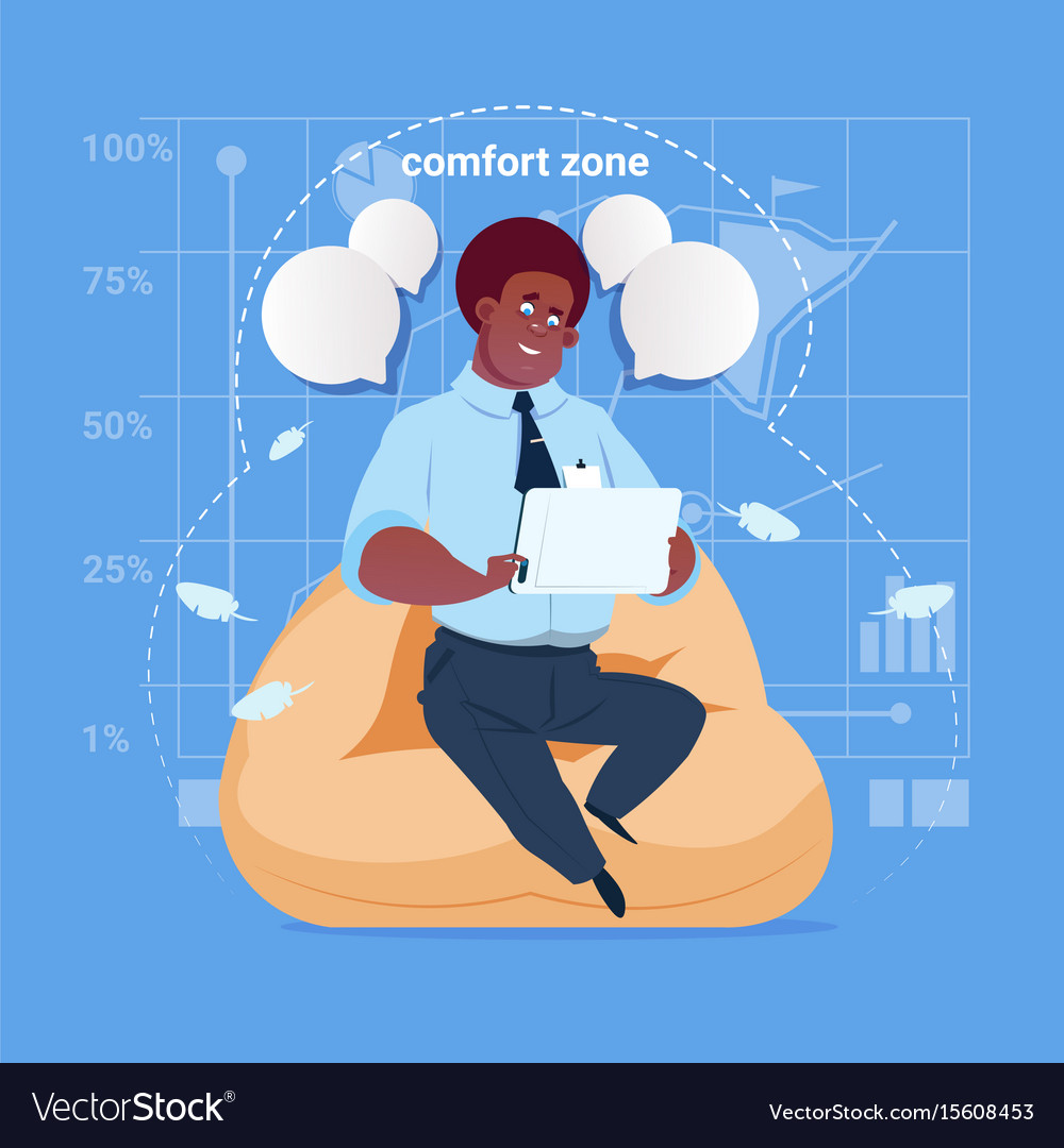 African american business man sit in comfort zone