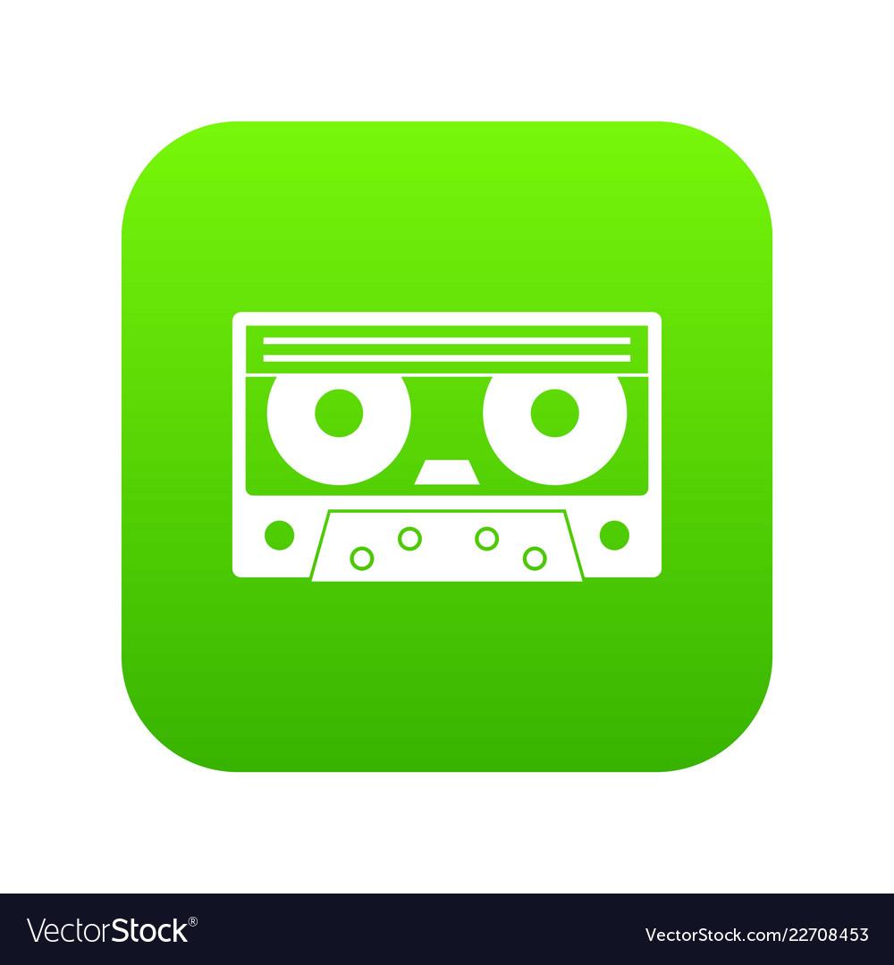 Audio cassette tape icon digital green