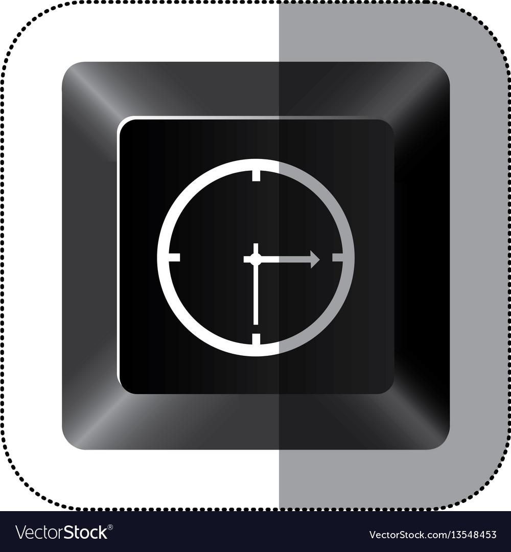 Black button clock icon vector image
