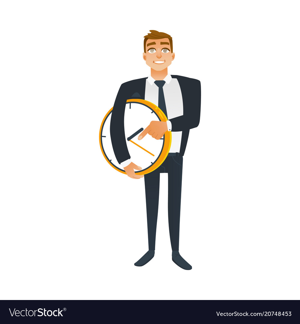 Businessman and time concept with young office