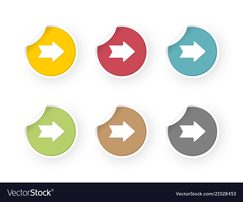 Colored stickers set with arrows icon