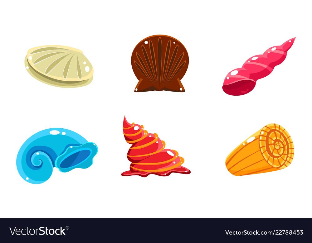 Colorful fantasy glossy seashells set user