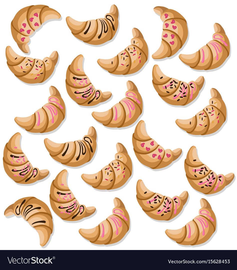 Croissant pattern fresh dessert chocolate and