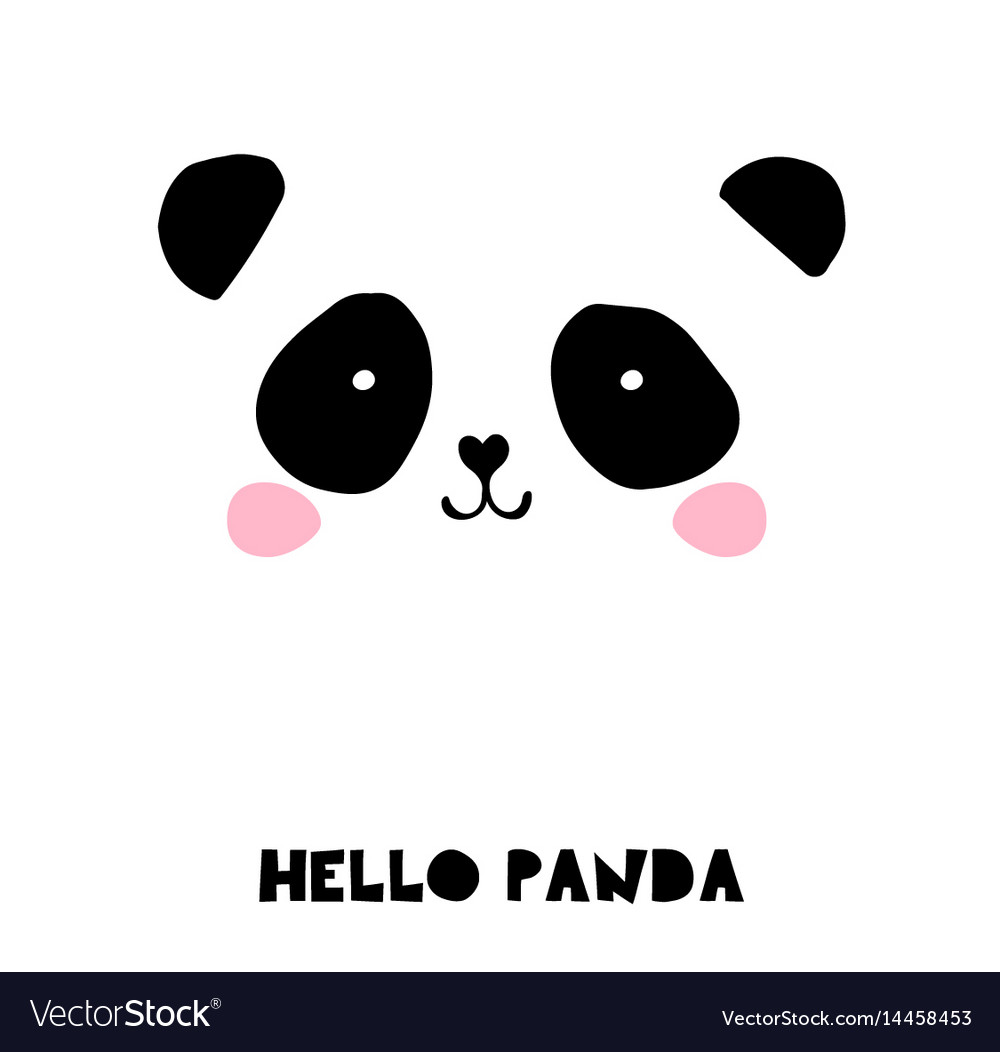 Cute panda bear black and white