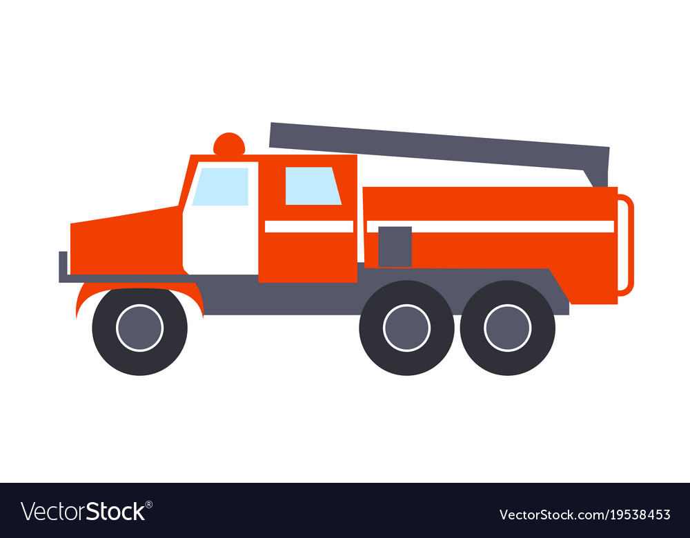Fire engine with ladder isolated