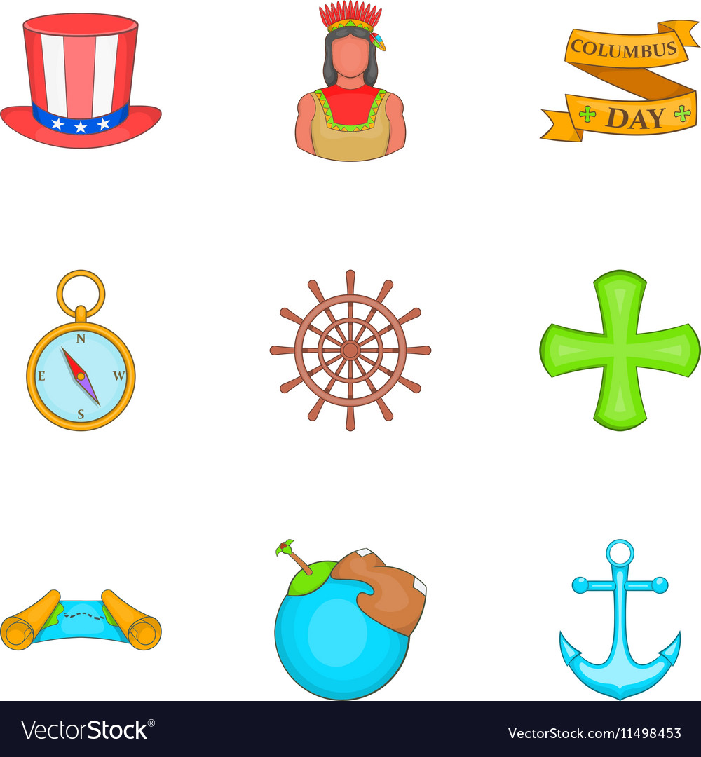 Geography icons set cartoon style
