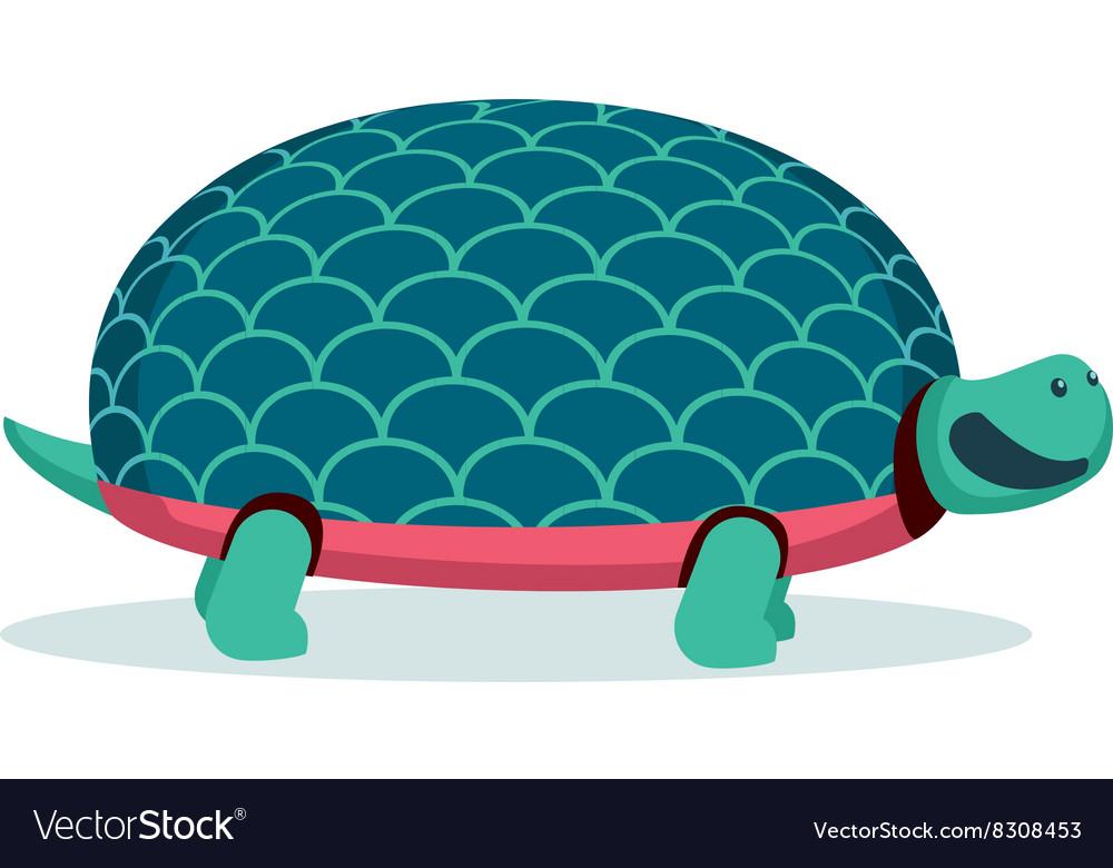 Isolated on white cartoon turtle