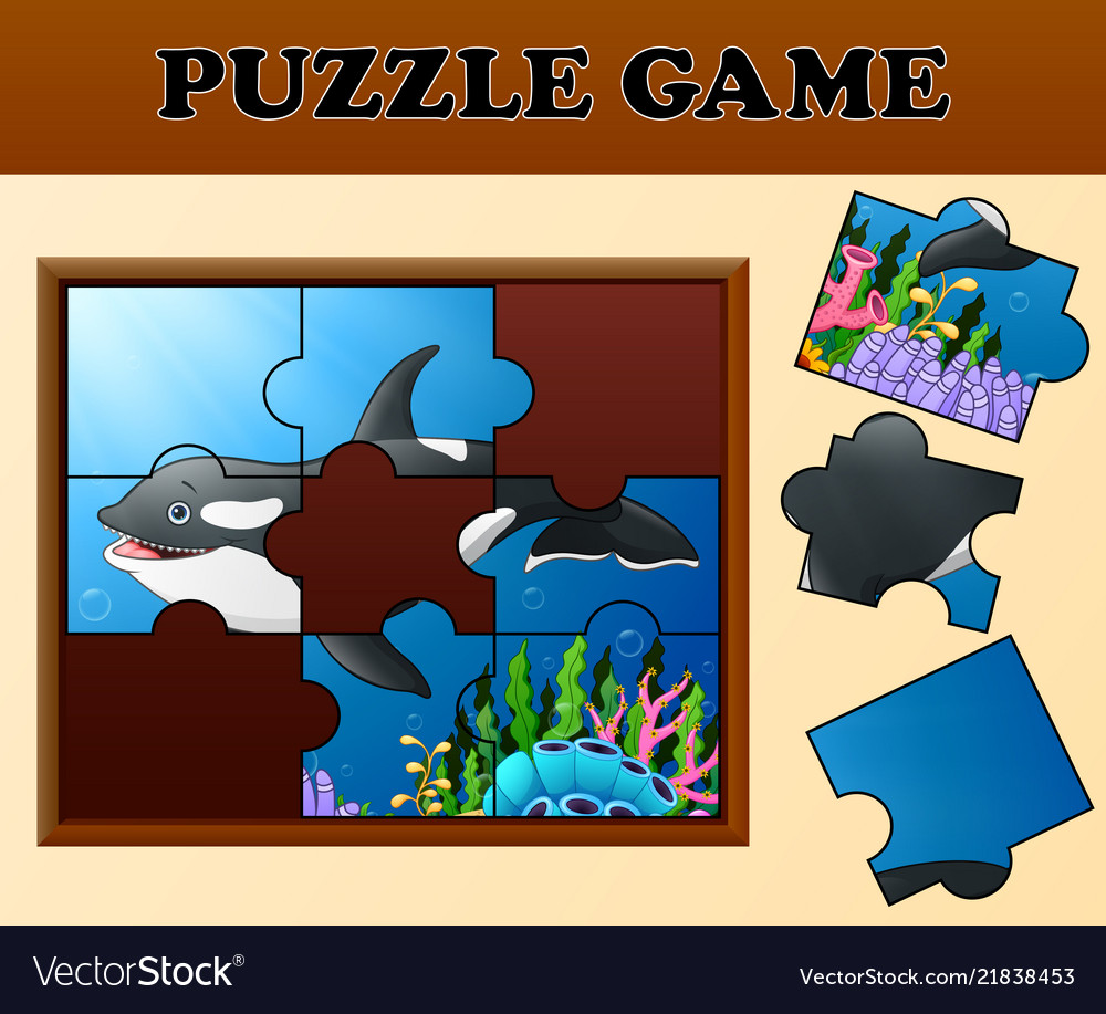 killer whale in undersea with puzzle concept vector image