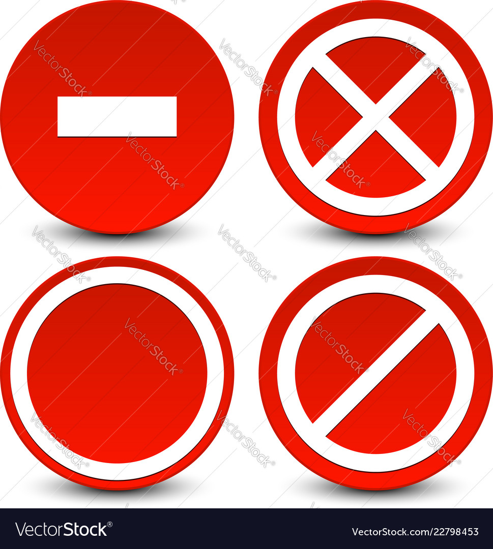 No Entry Do Not Cross No Parking Signs Icons Vector Image