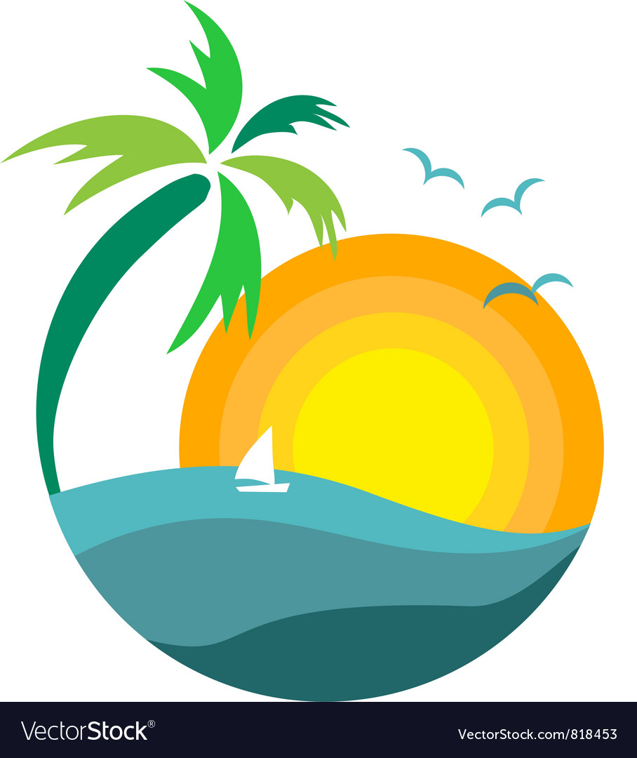 palm tree with sunset royalty free vector image rh vectorstock com free vector construction drawings free vector sun rays