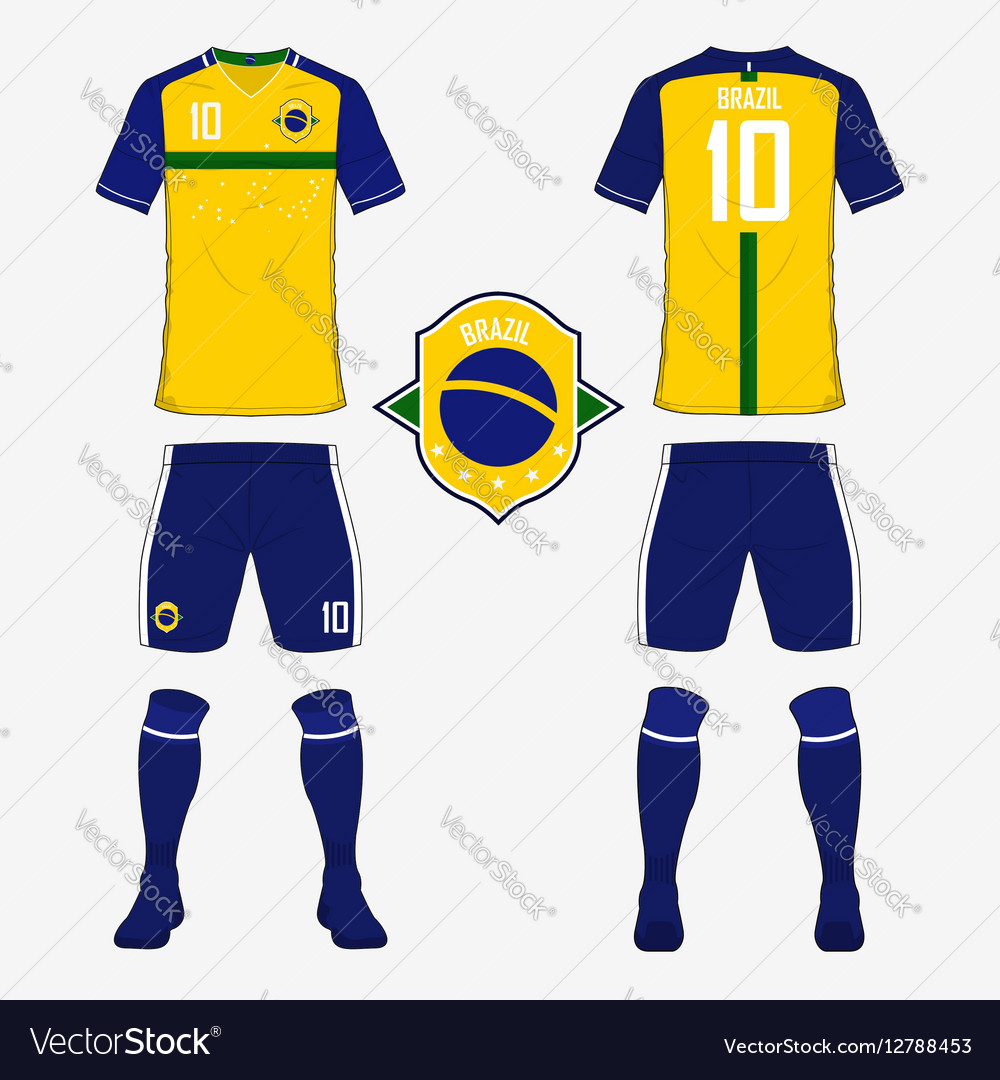 be6af973e Soccer kit football jersey template for Brazil Vector Image