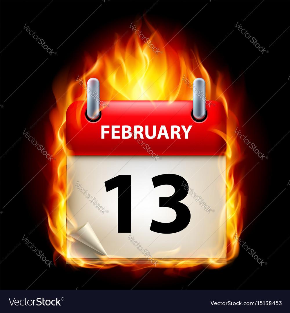 Thirteenth february in calendar burning icon on