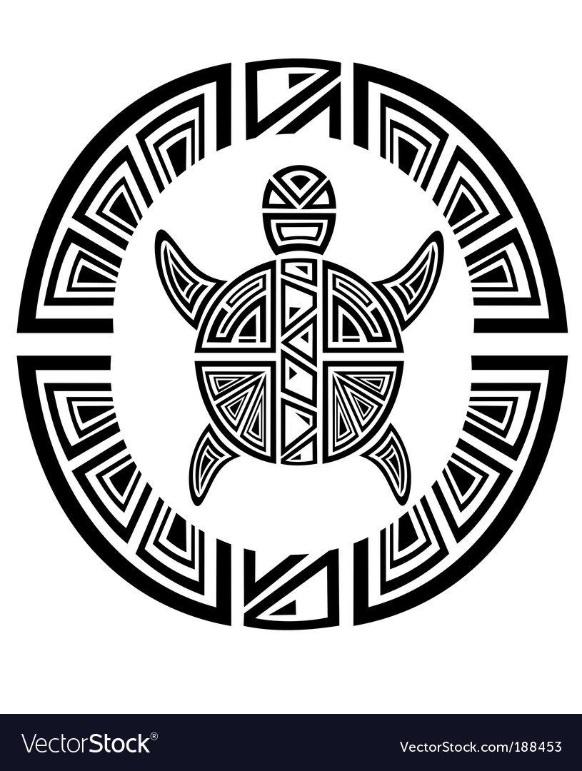 Tribal turtle wheel tattoo style