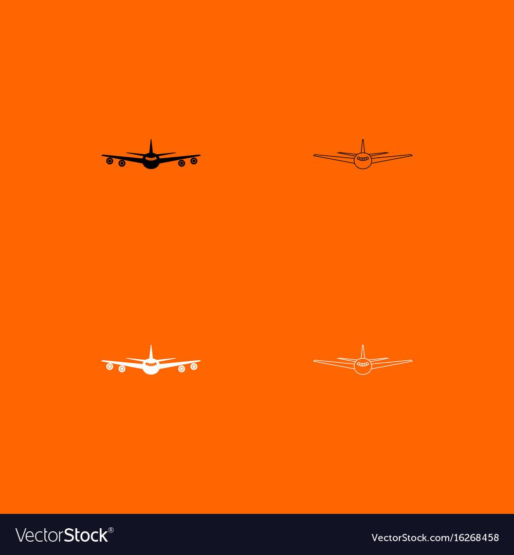 Airplane black and white set icon