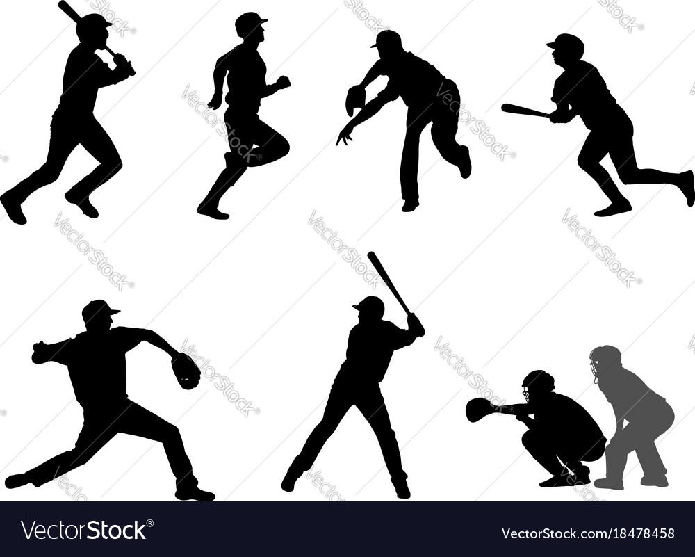 Baseball silhouettes set 7
