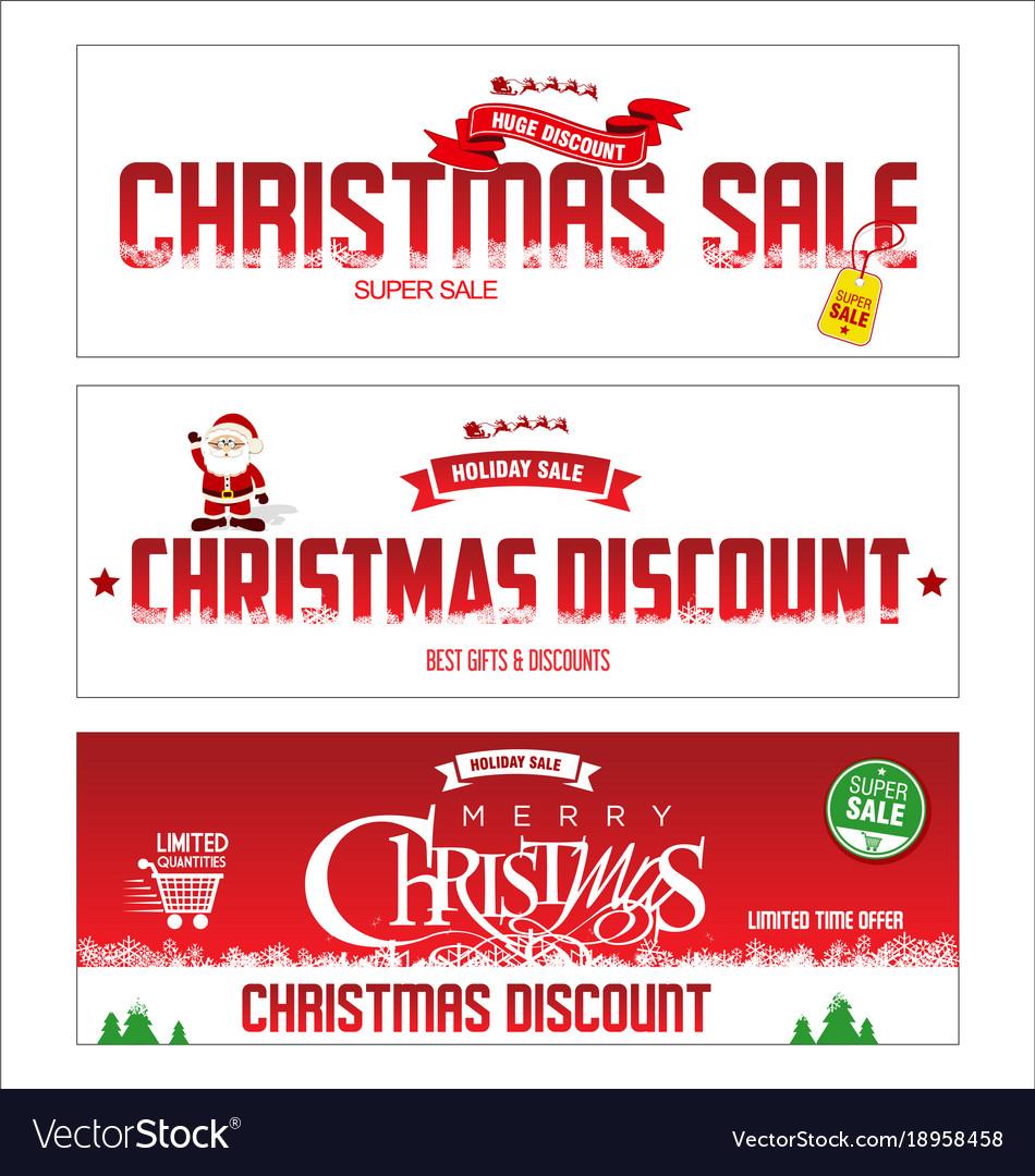 Christmas sale web banner collection vector image