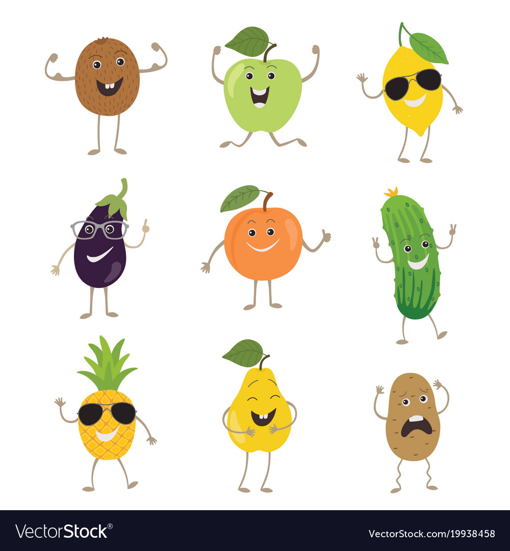 Funny fruits and vegetables with hands kicking vector image