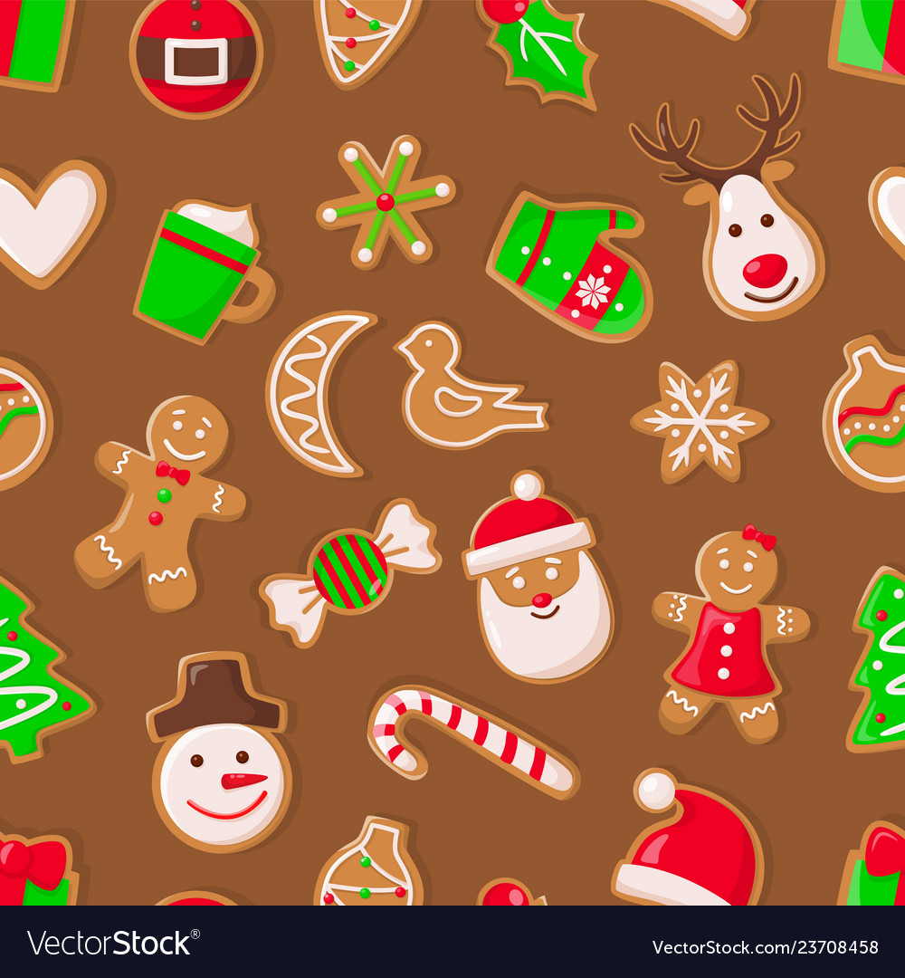 Gingerbread Man And Santa Claus Reindeer And Candy