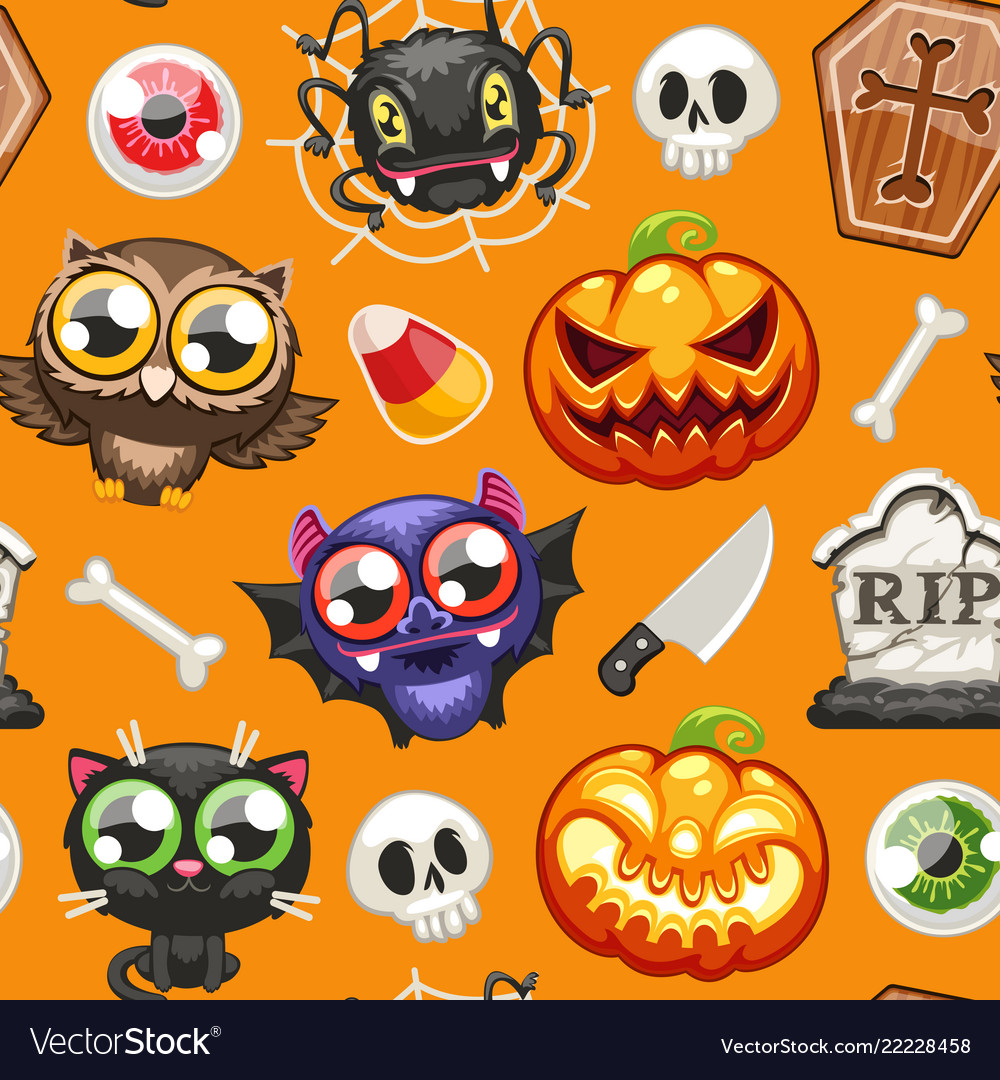 Halloween seamless pattern with cartoon characters