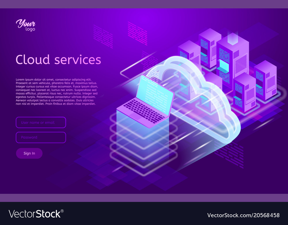 Isometric cloud computing services concept