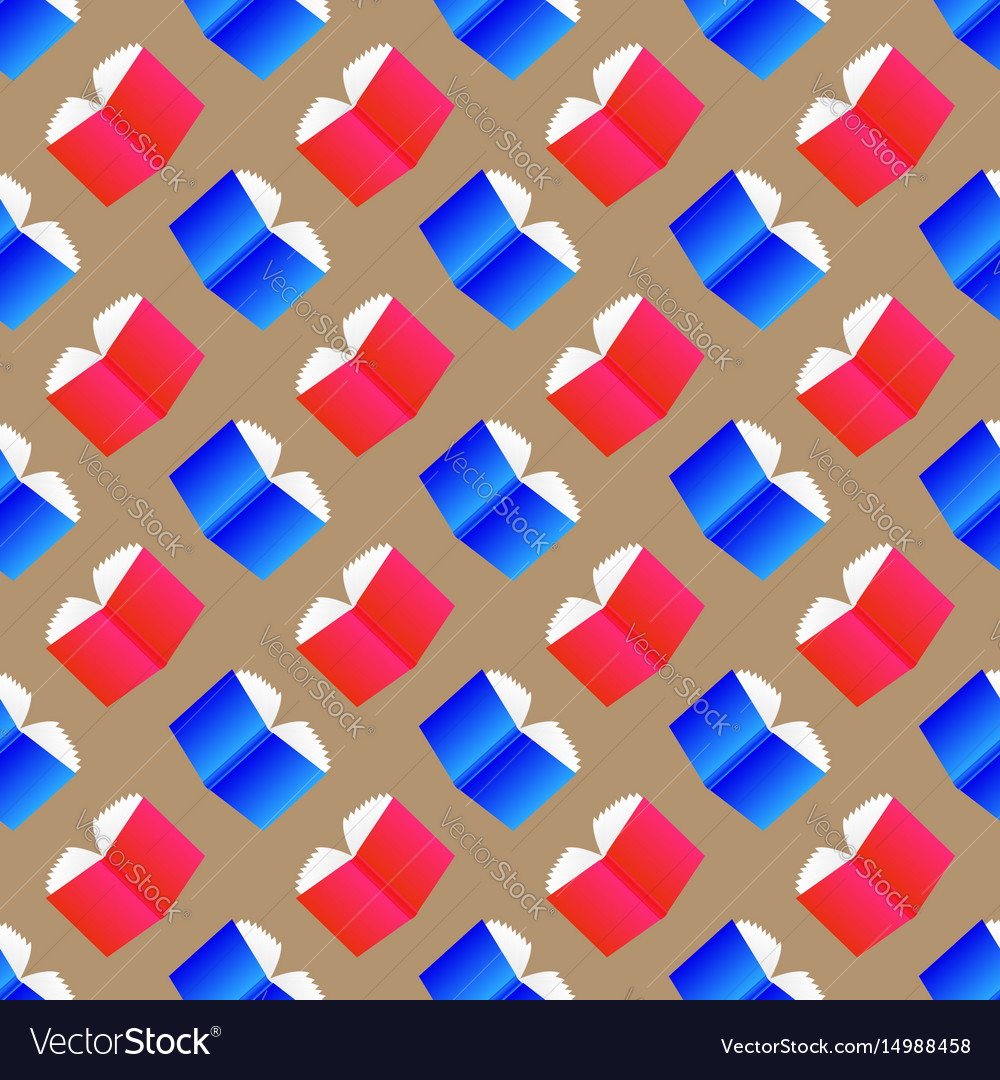 Open colored books seamless pattern