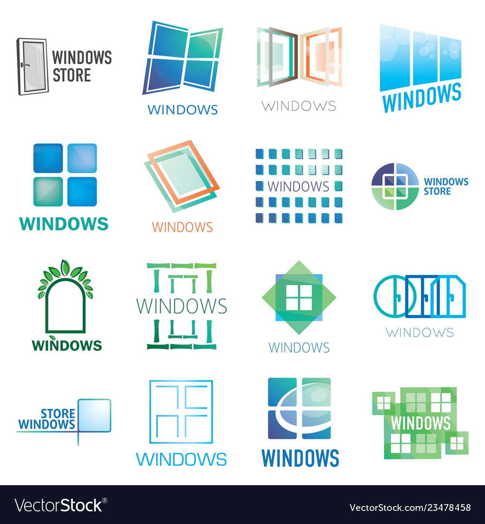 Set of logos of windows doors