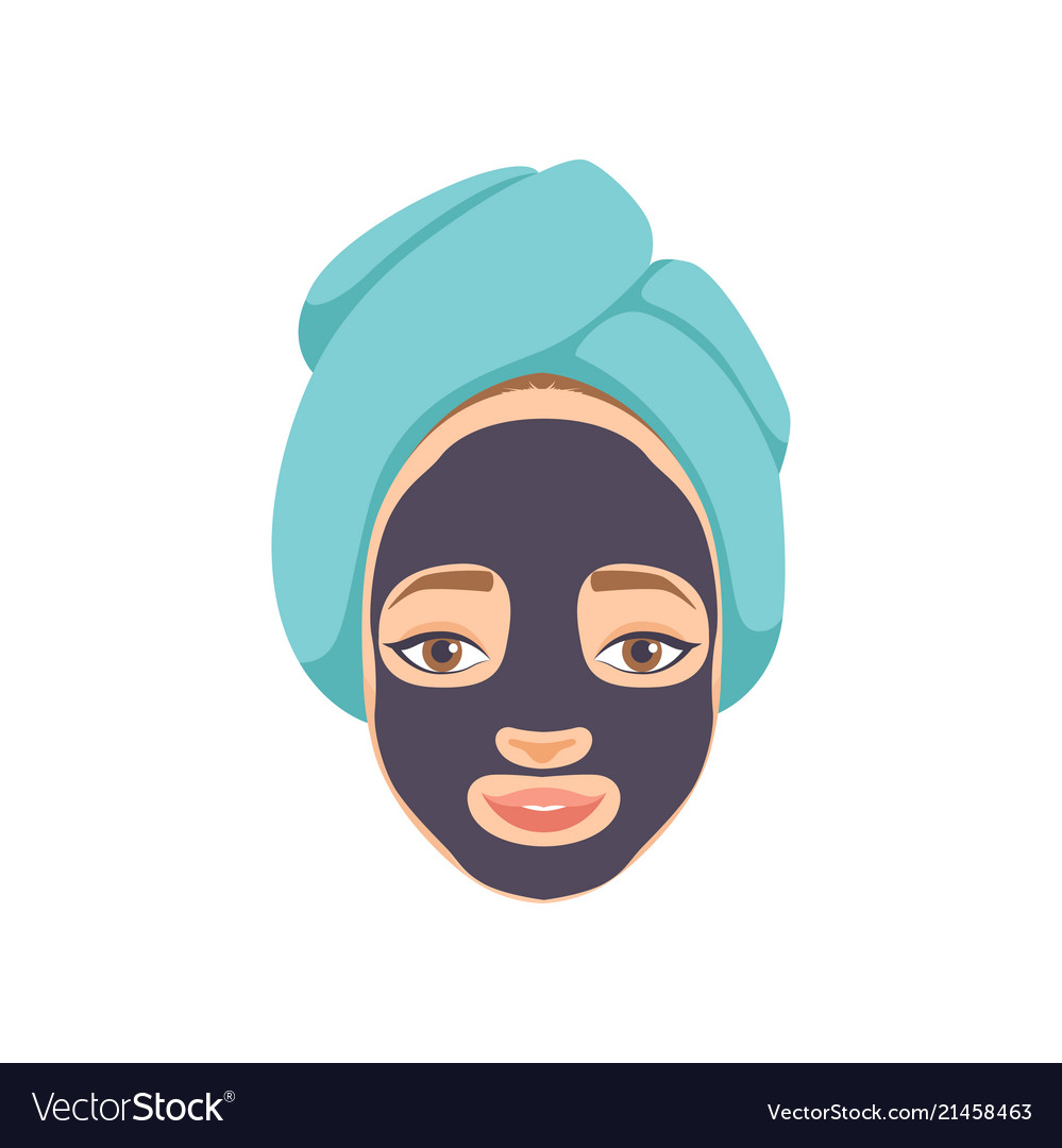 Beautiful woman with purifying black mask on her