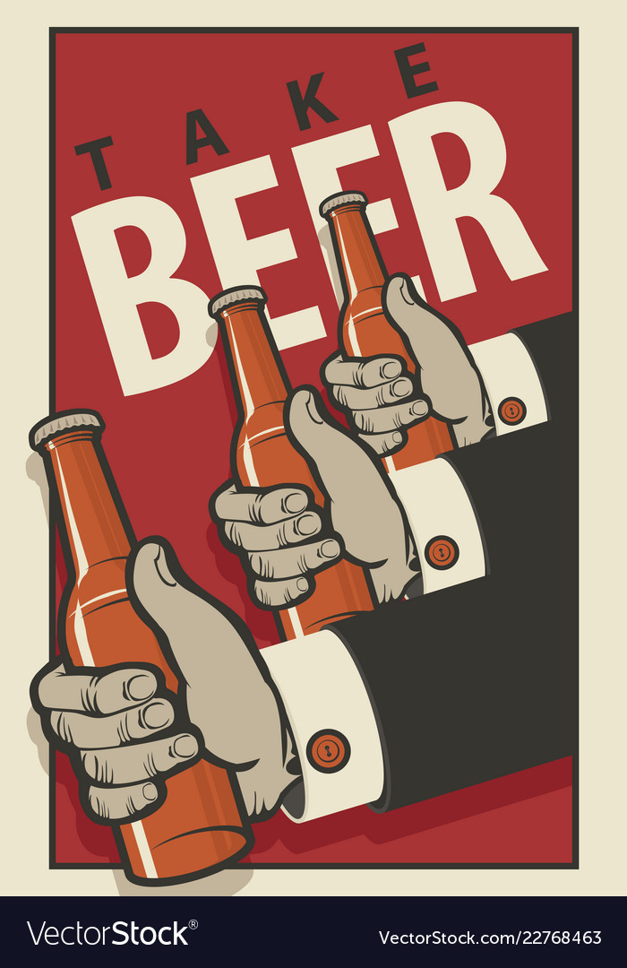 beer banner with three mens hands with bottles vector image