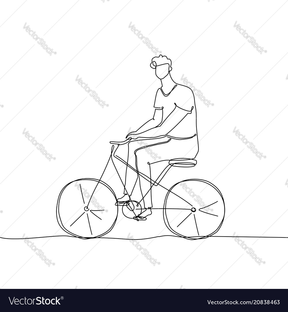 Boy riding a bicycle - one continuous line design