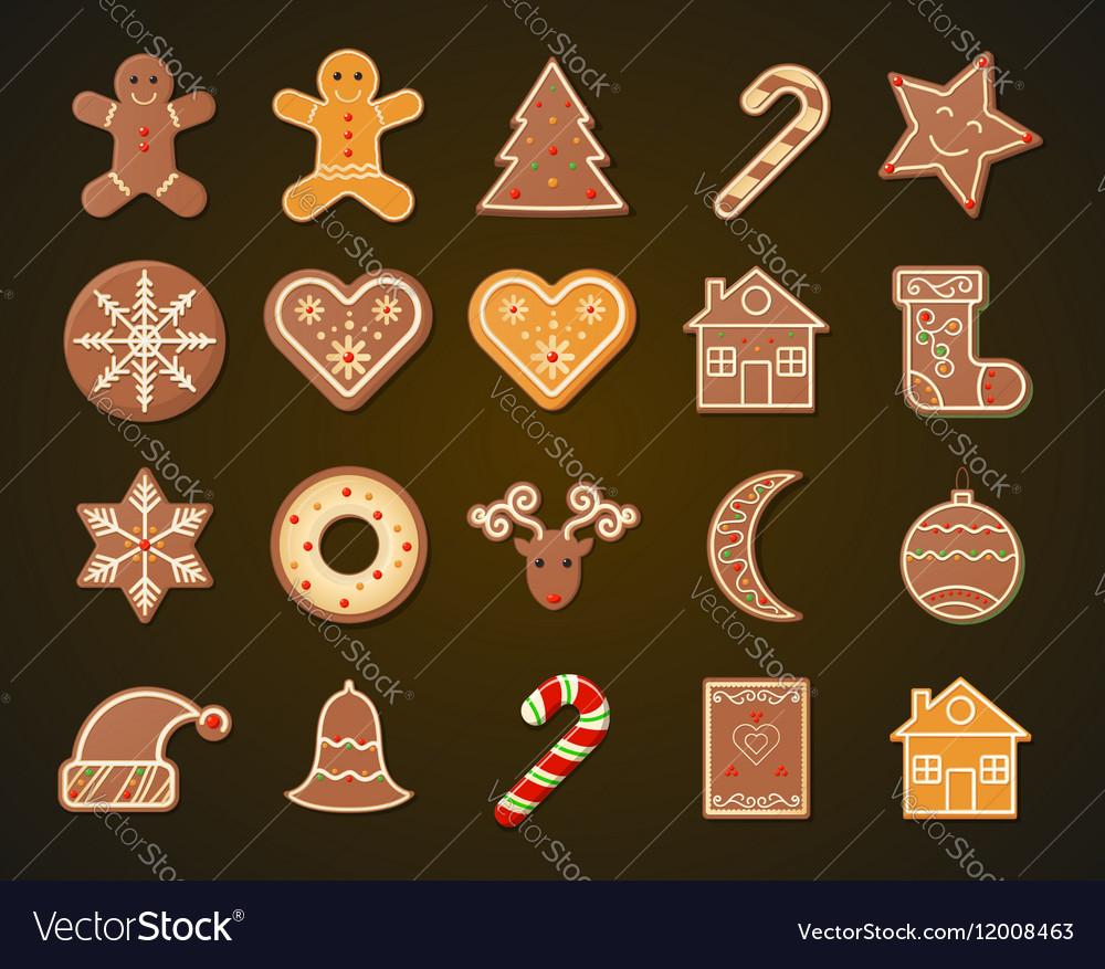 Christmas Gingerbread Cookies set vector image