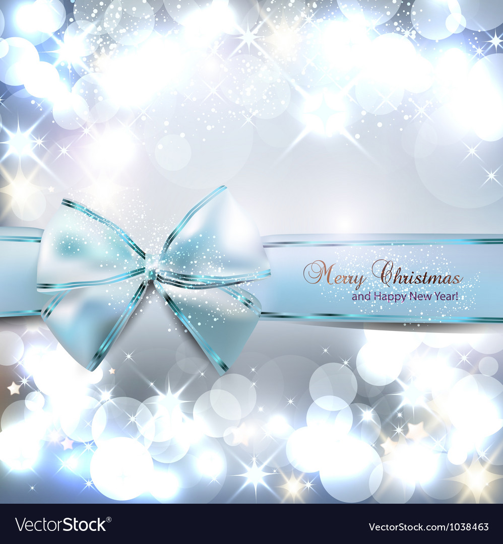 Elegant Christmas background with blue bow and