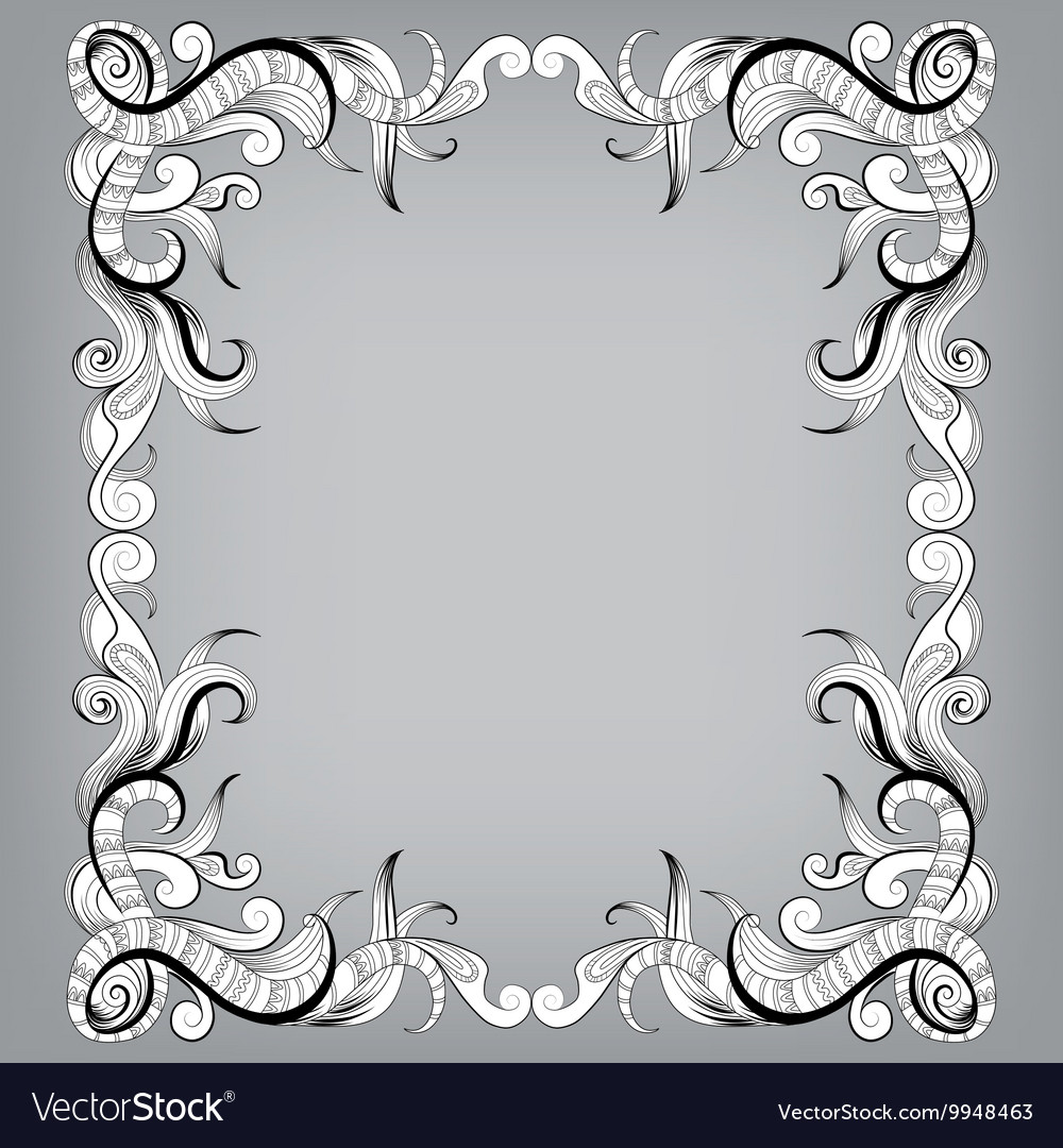 Filigree frame with sketch doodles ornaments Vector Image