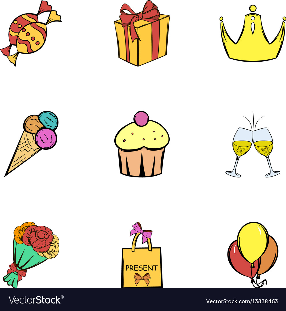 Happy birthday icons set cartoon style vector image