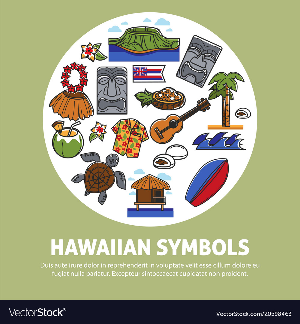 Hawaii Famous Sightseeing Symbols And Culture Vector Image