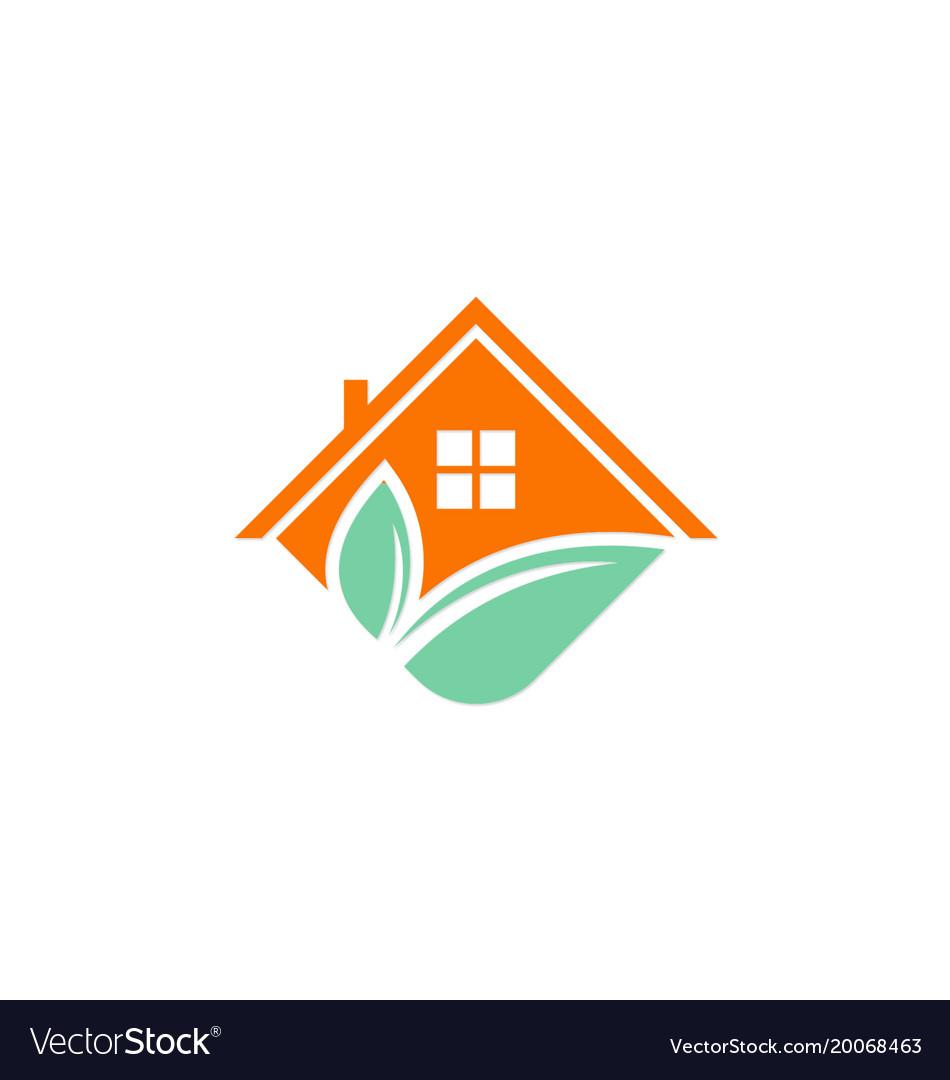House roof green leaf logo