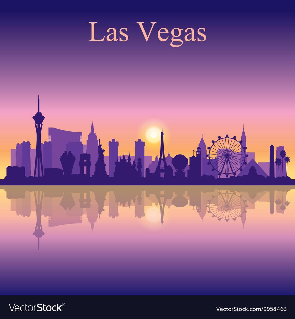Las Vegas skyline silhouette on sunset background vector image