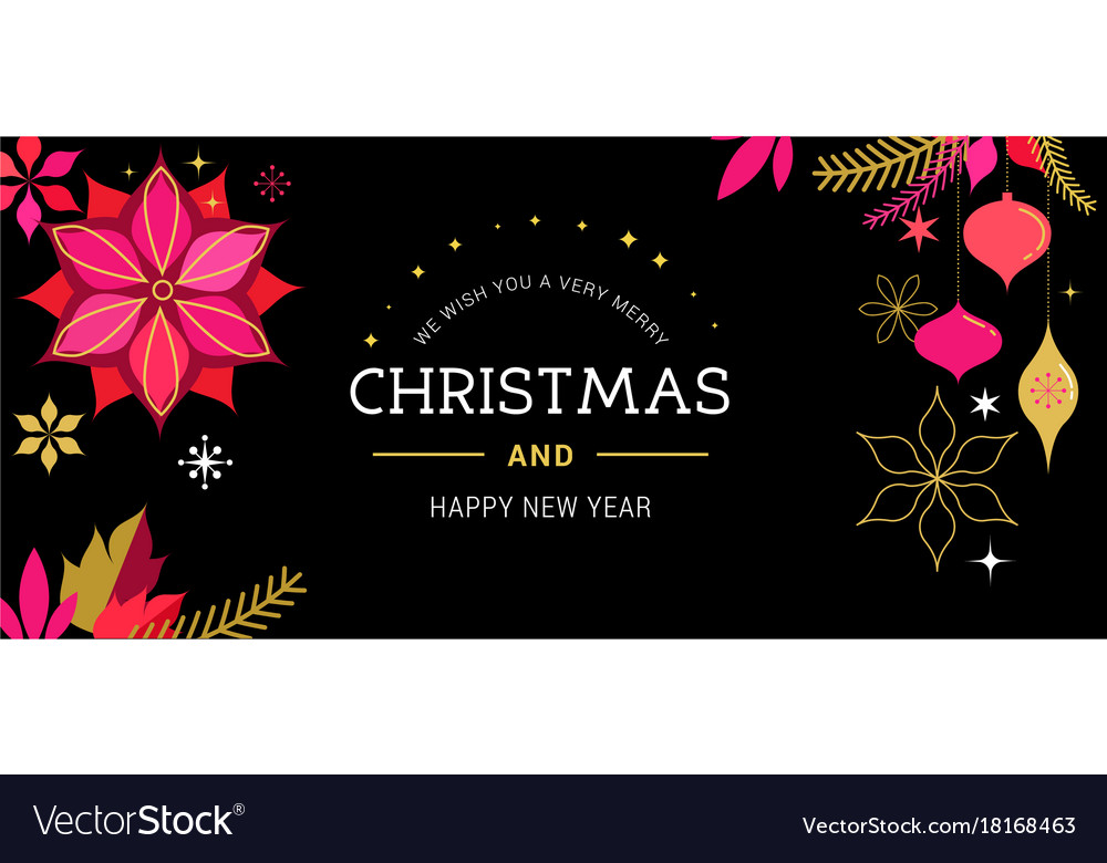 Merry christmas greeting card with decorations vector image