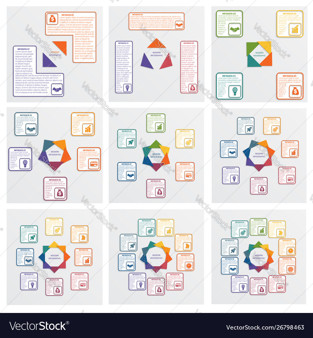 Modern infographic colored triangles with space