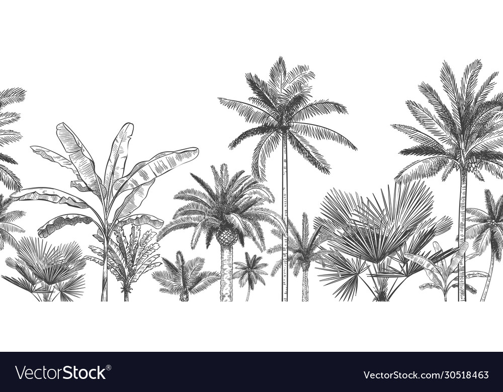 Seamless horizontal tropical background hand