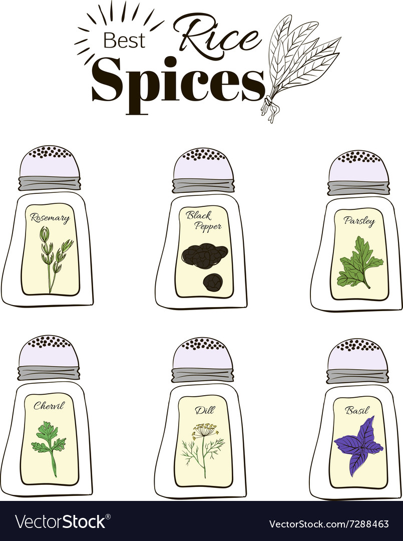 Set of fragrant spices for the rice