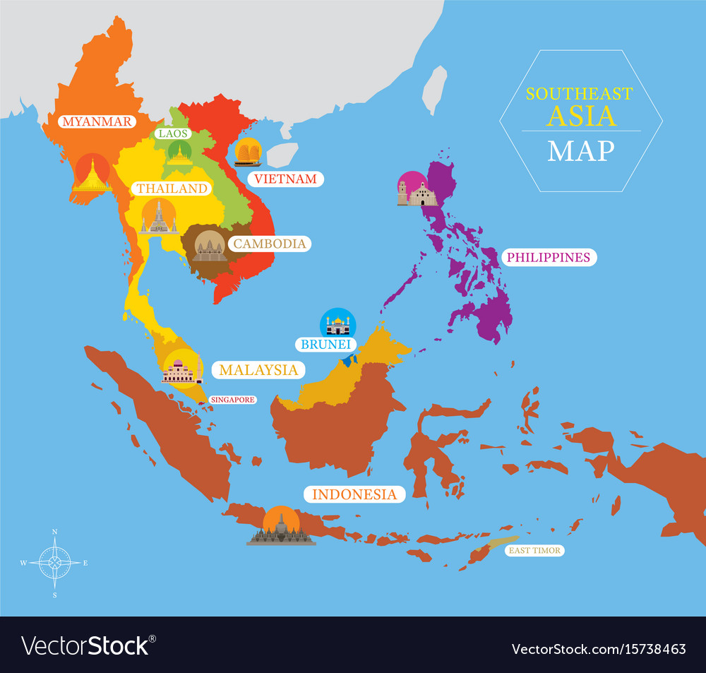 A Map Of East Asia.Southeast Asia Map With Country Icons And Location