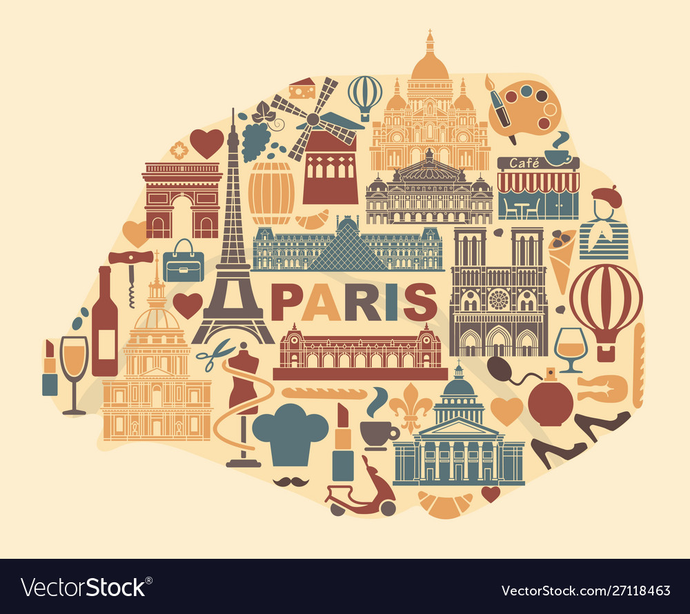 Stylized map paris with landmarks and