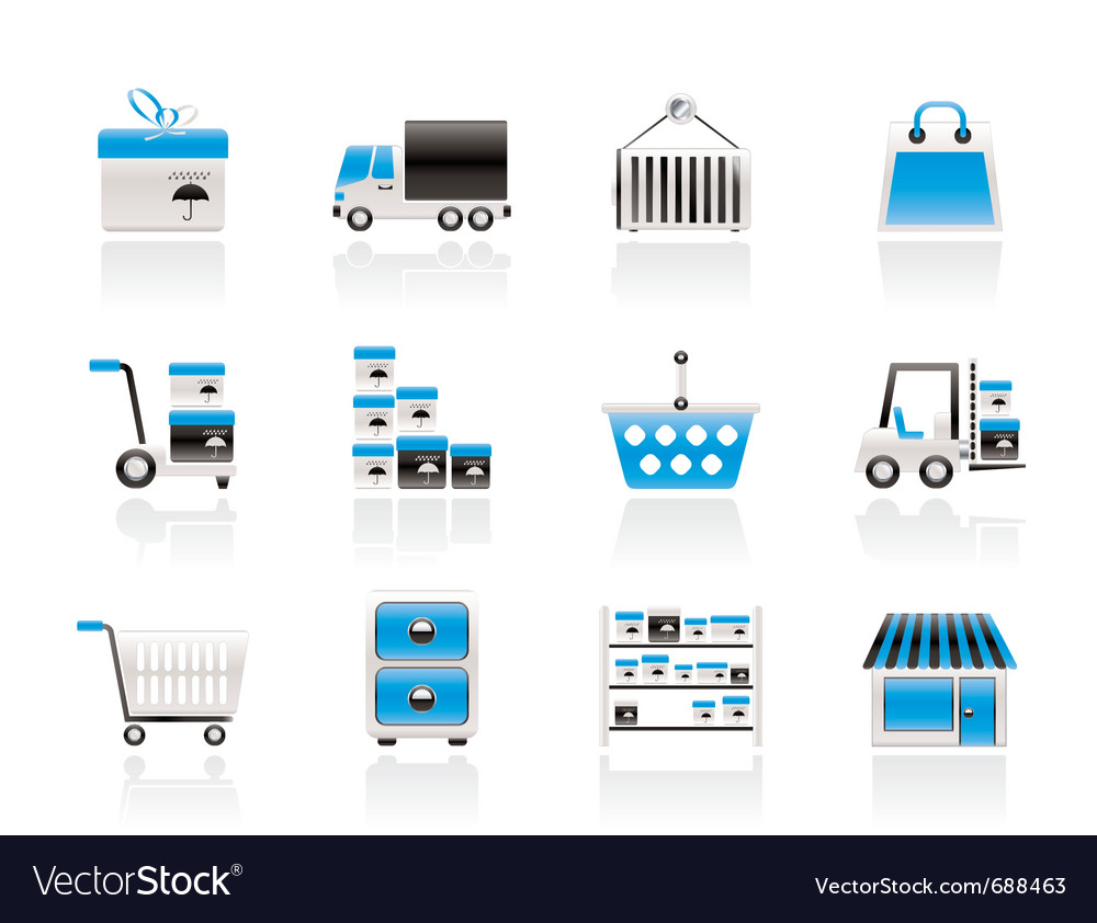Transportation and shipping icons vector image