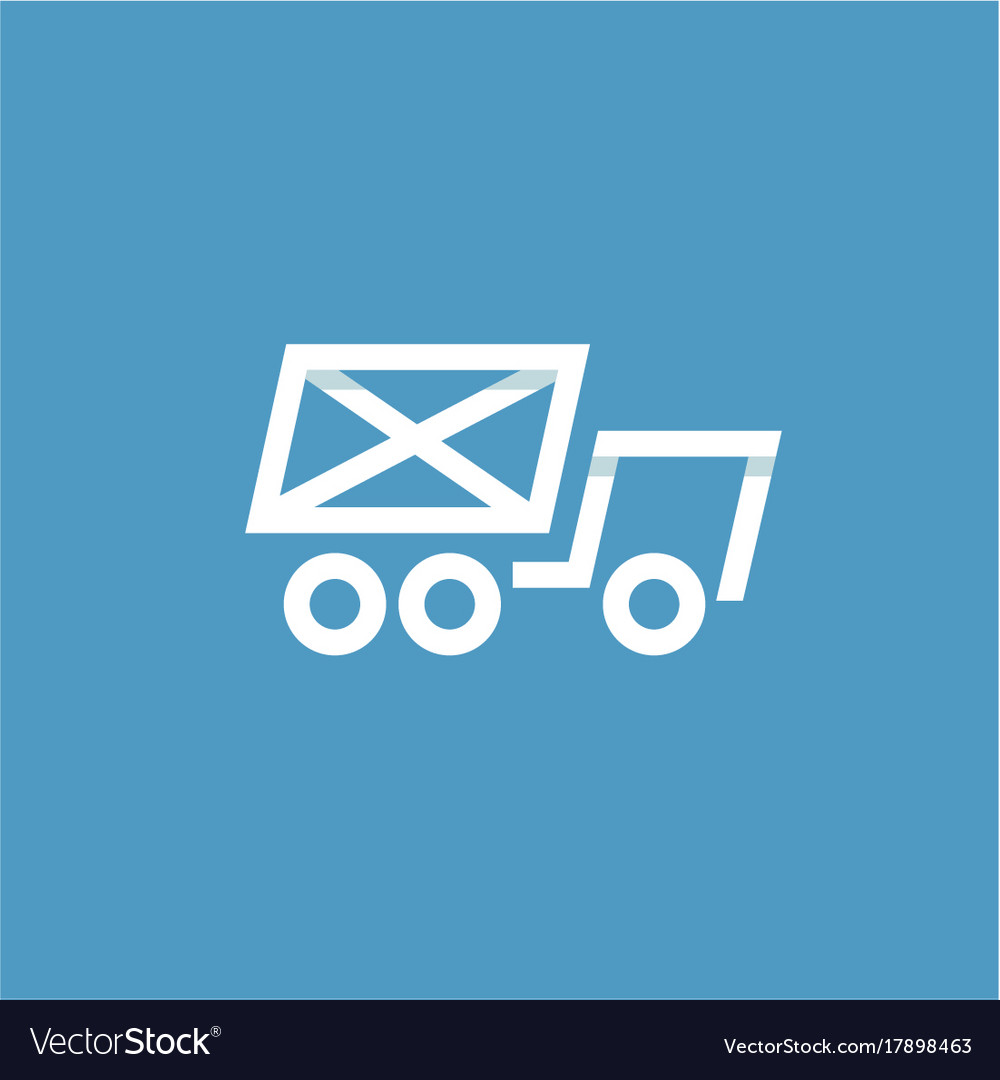 Truck mail in an envelope linear style on a blue