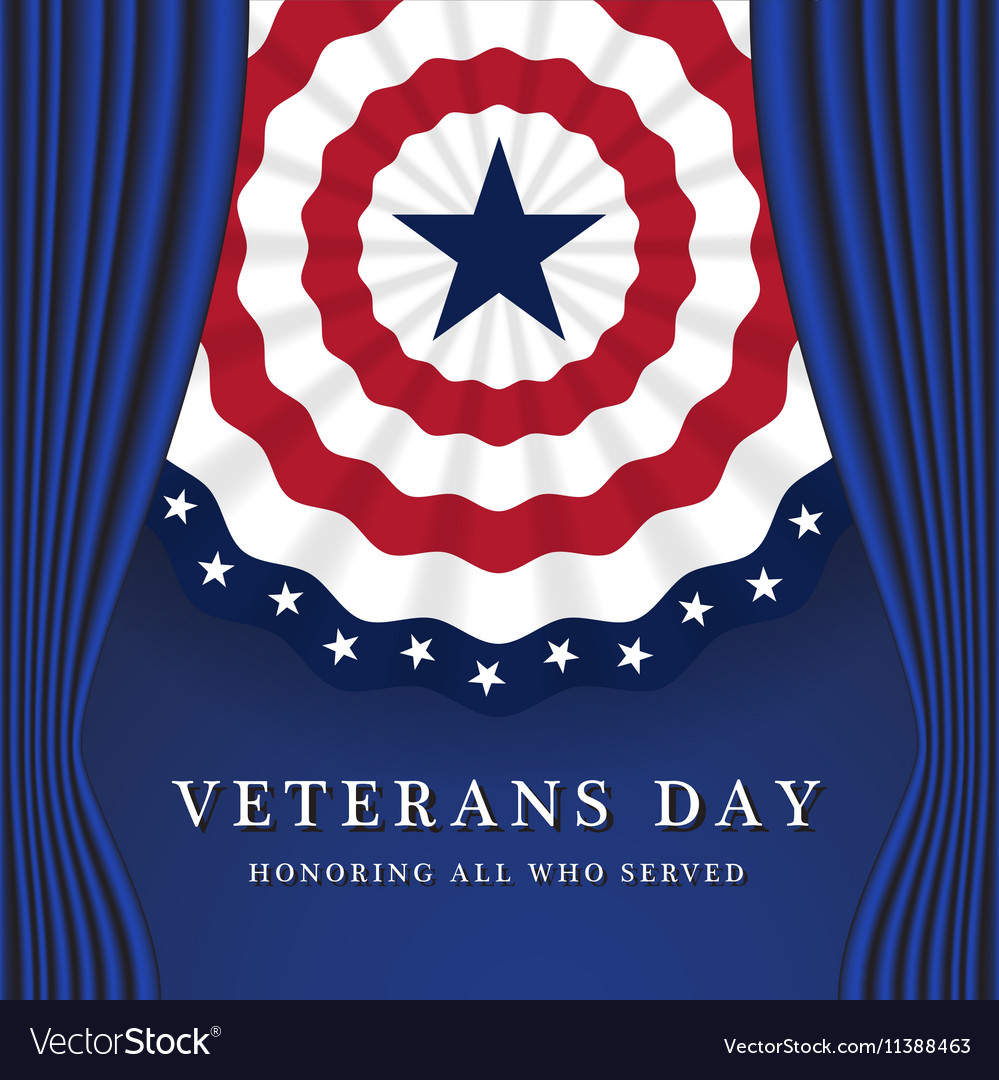 Veterans Day Background With Circle Wavy USA Flag