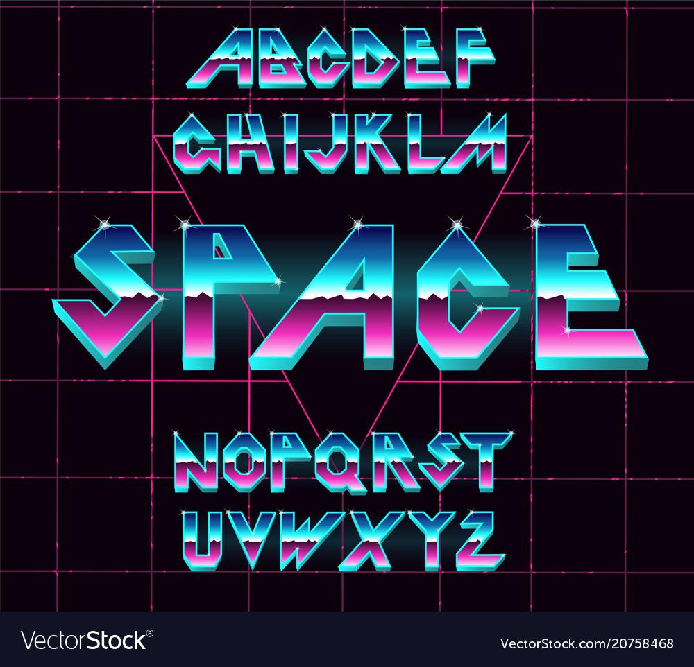 80 s retro alphabet font vector image