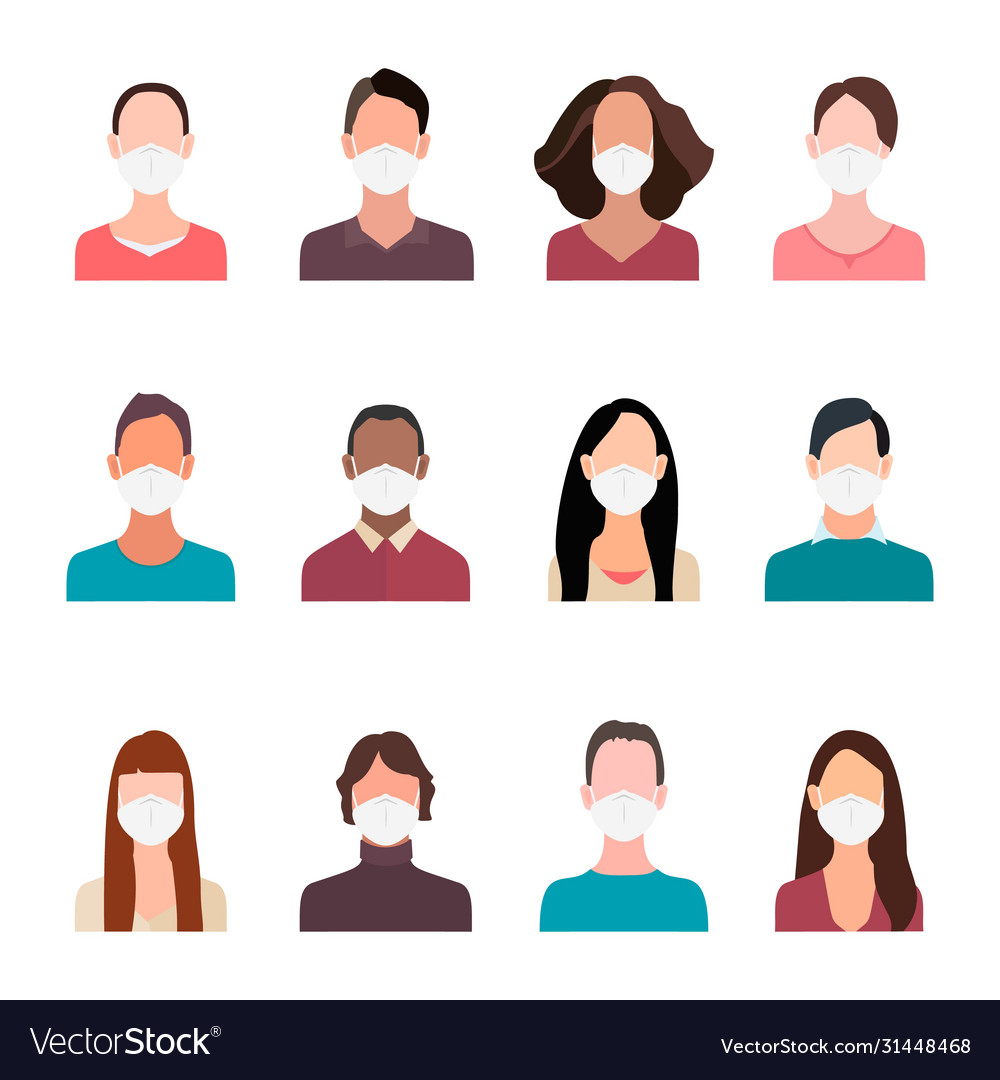 Avatars people heads in mask cartoon portrait man