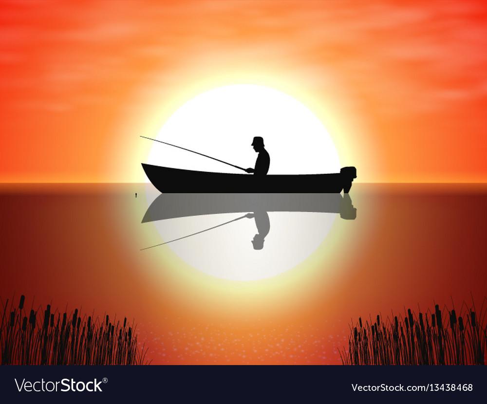 Background fisherman on boat sunset vector image