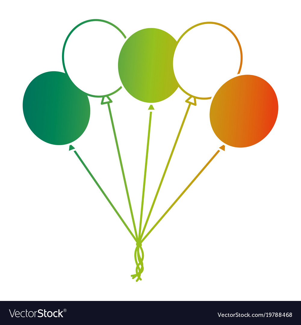 Bunch balloons decoration ornament party vector image